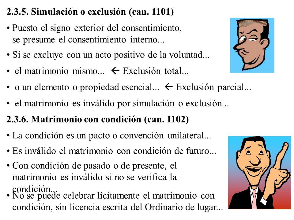 2.3.5. Simulación o exclusión (can. 1101)