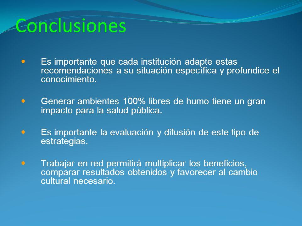 Conclusiones Es importante que cada institución adapte estas recomendaciones a su situación específica y profundice el conocimiento.