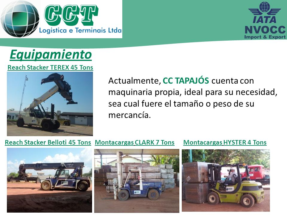 Equipamiento Reach Stacker TEREX 45 Tons.