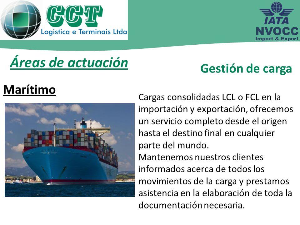 Áreas de actuación Gestión de carga Marítimo