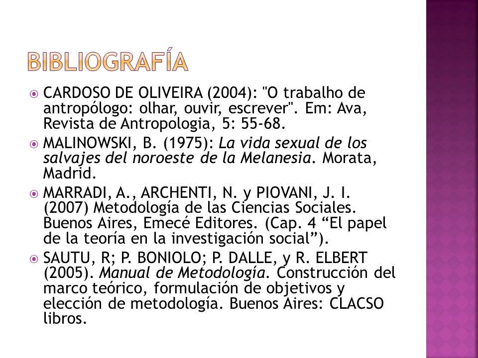 Bibliografía CARDOSO DE OLIVEIRA (2004): O trabalho de antropólogo: olhar, ouvir, escrever . Em: Ava, Revista de Antropologia, 5: 55-68.