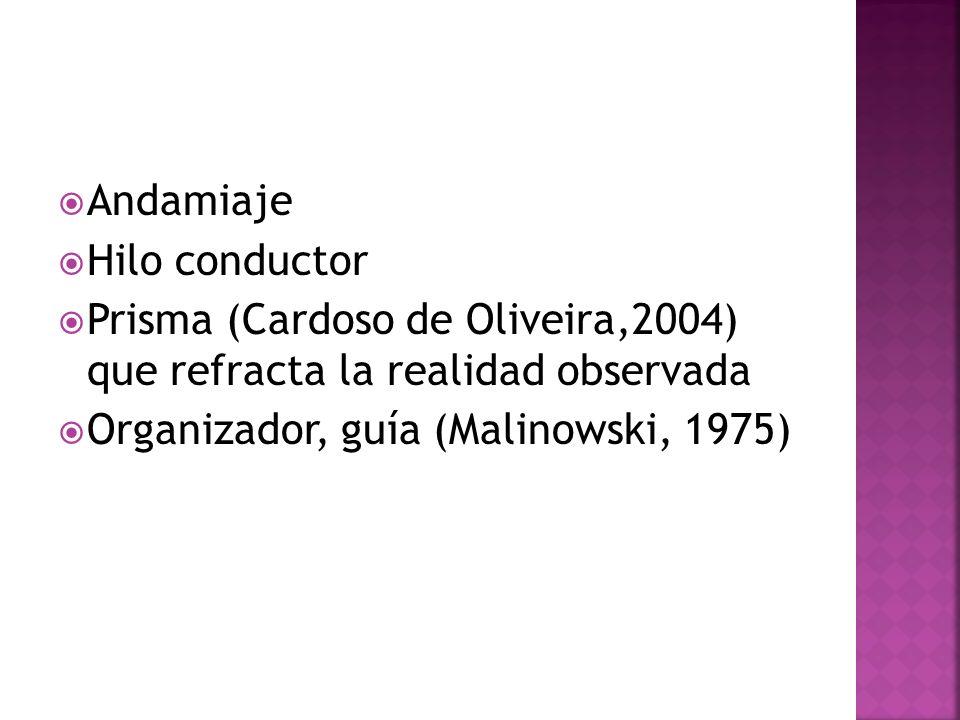 Andamiaje Hilo conductor. Prisma (Cardoso de Oliveira,2004) que refracta la realidad observada.