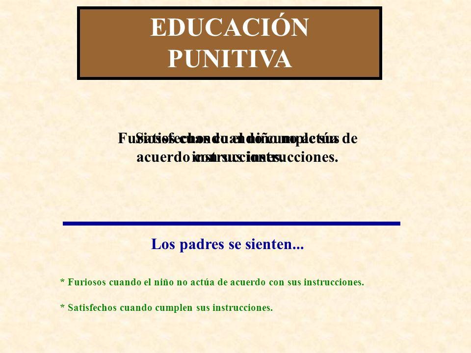 EDUCACIÓN PUNITIVA Satisfechos cuando cumple sus instrucciones.