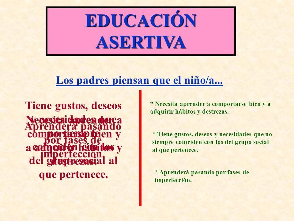 EDUCACIÓN ASERTIVA Los padres piensan que el niño/a...
