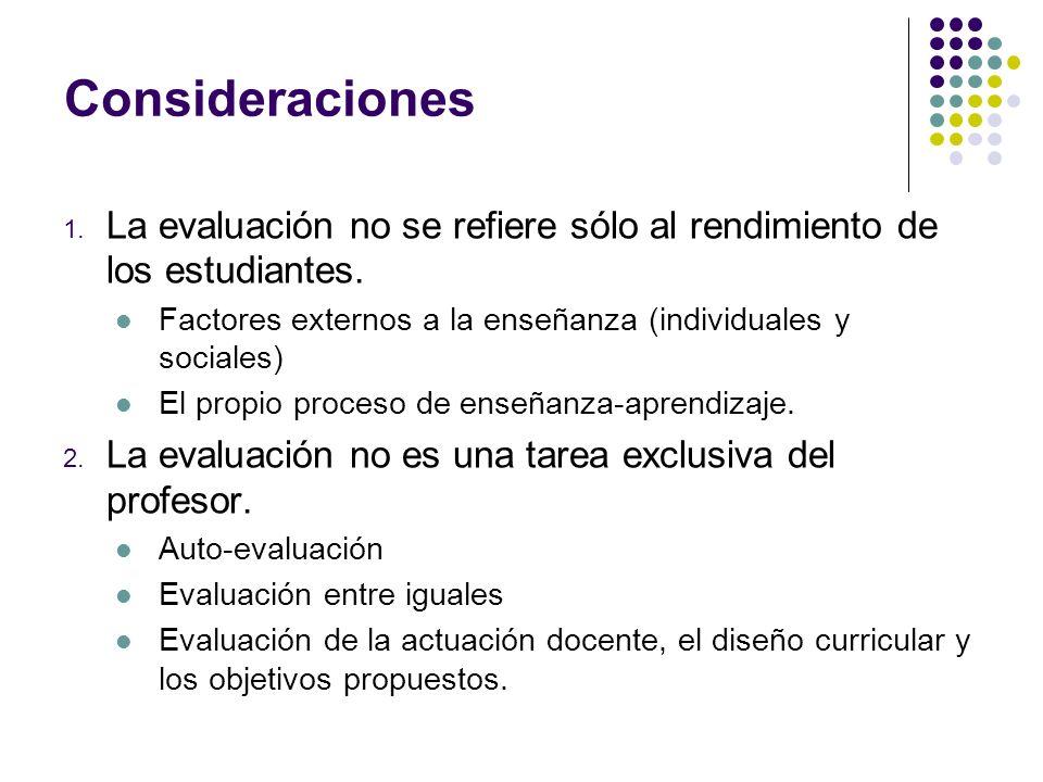 Consideraciones La evaluación no se refiere sólo al rendimiento de los estudiantes. Factores externos a la enseñanza (individuales y sociales)