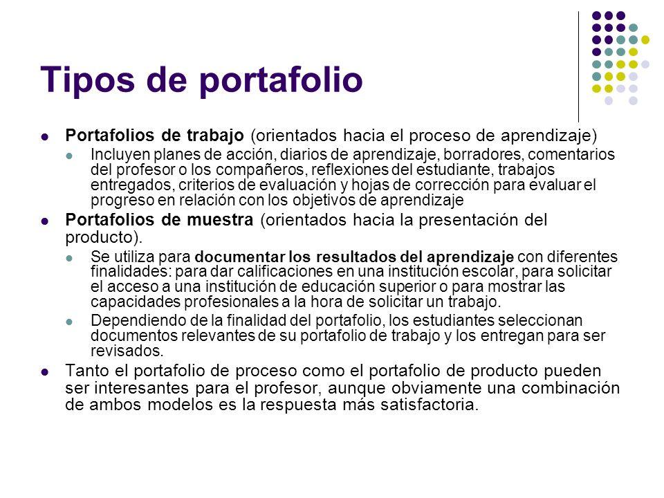 Tipos de portafolio Portafolios de trabajo (orientados hacia el proceso de aprendizaje)