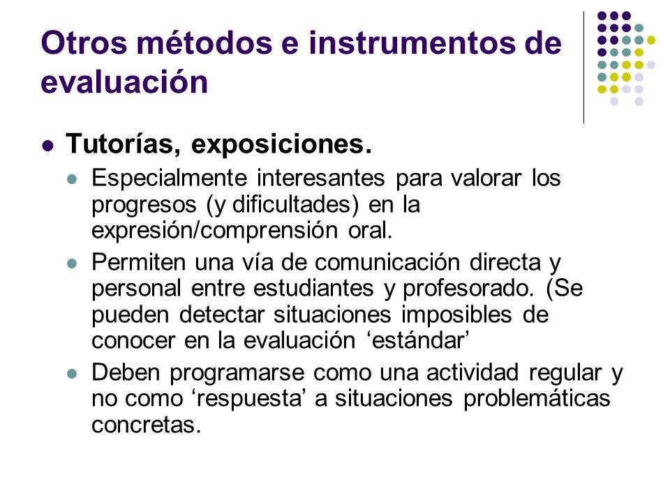 Otros métodos e instrumentos de evaluación
