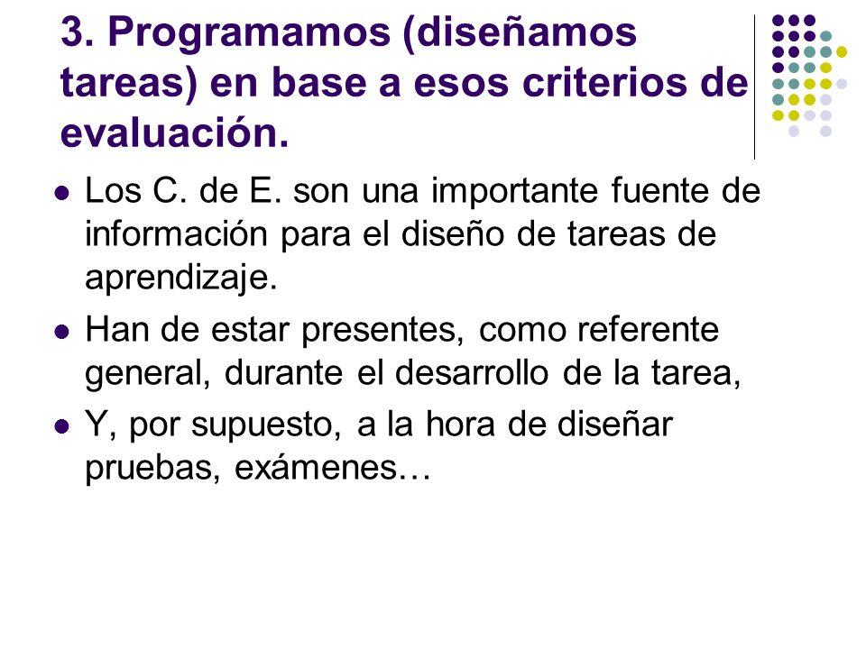 3. Programamos (diseñamos tareas) en base a esos criterios de evaluación.