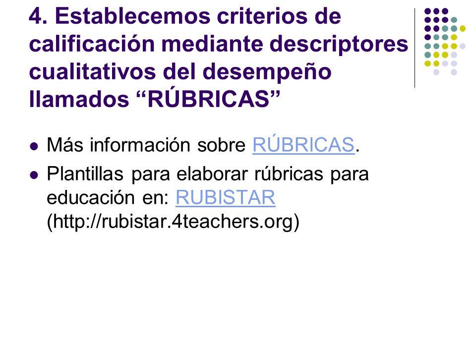 4. Establecemos criterios de calificación mediante descriptores cualitativos del desempeño llamados RÚBRICAS