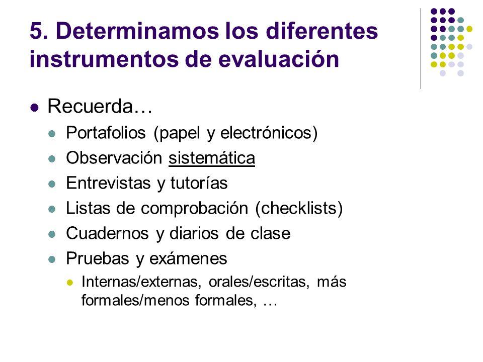 5. Determinamos los diferentes instrumentos de evaluación
