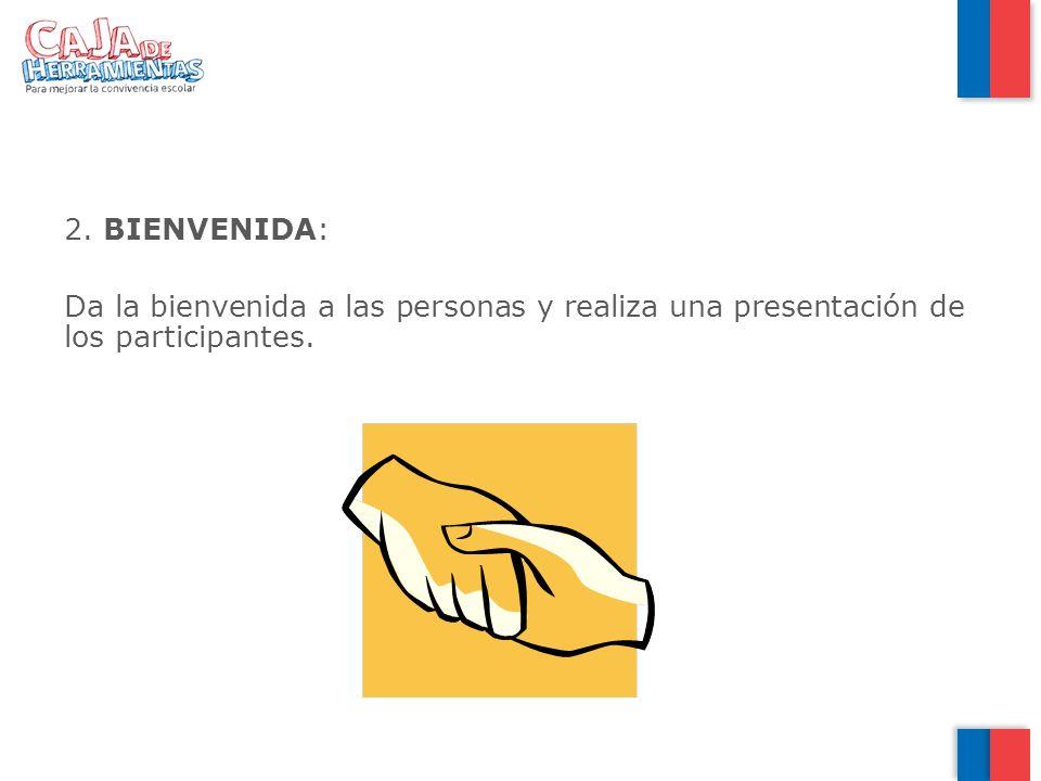 BIENVENIDA: Da la bienvenida a las personas y realiza una presentación de los participantes.