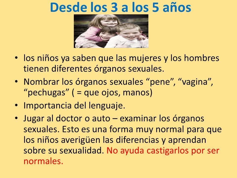 Desde los 3 a los 5 años los niños ya saben que las mujeres y los hombres tienen diferentes órganos sexuales.