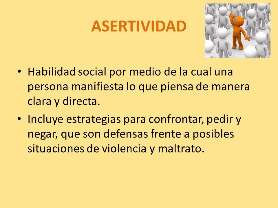 ASERTIVIDAD Habilidad social por medio de la cual una persona manifiesta lo que piensa de manera clara y directa.