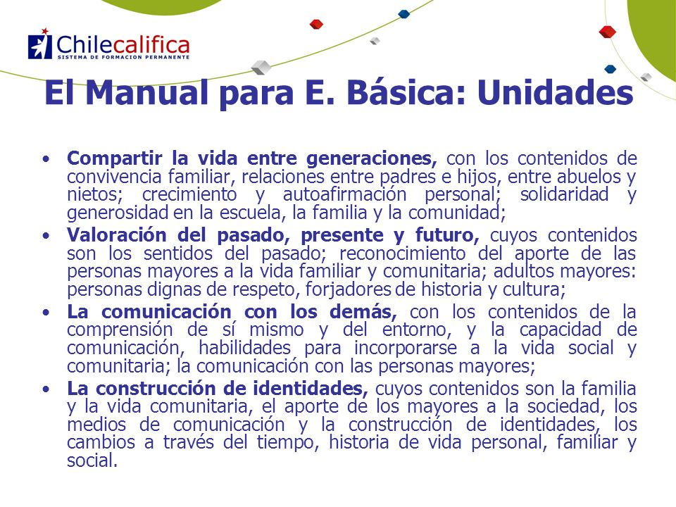 El Manual para E. Básica: Unidades