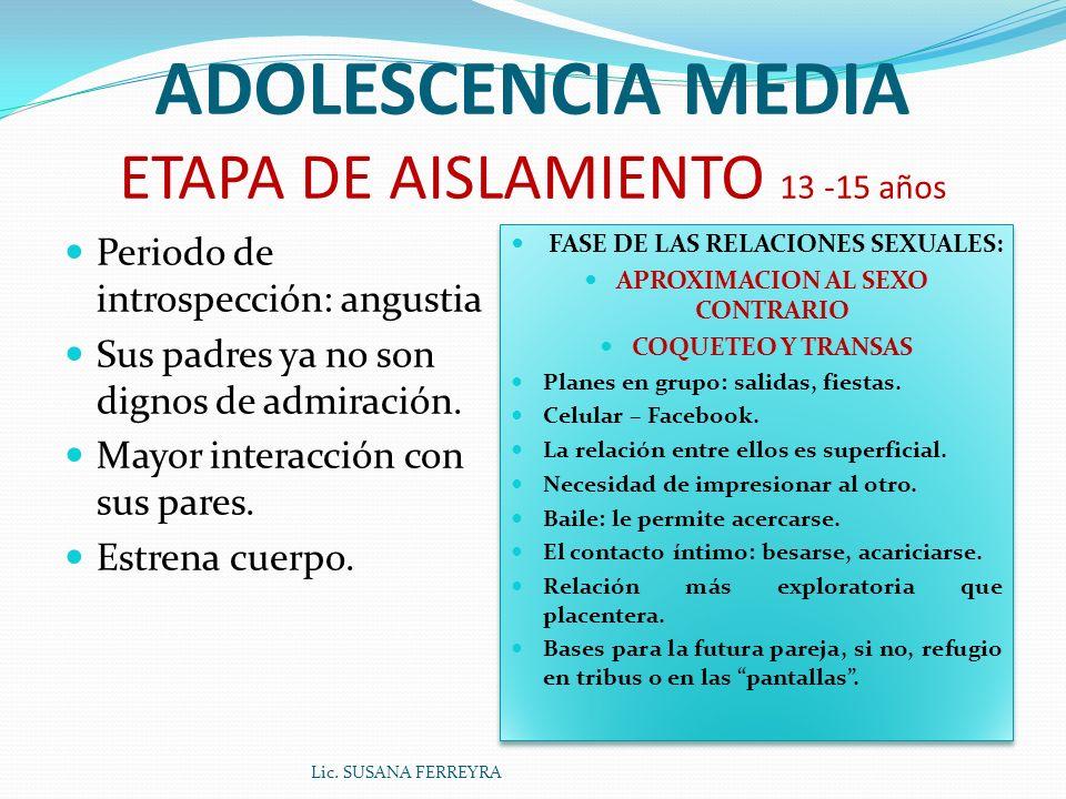 ADOLESCENCIA MEDIA ETAPA DE AISLAMIENTO 13 -15 años