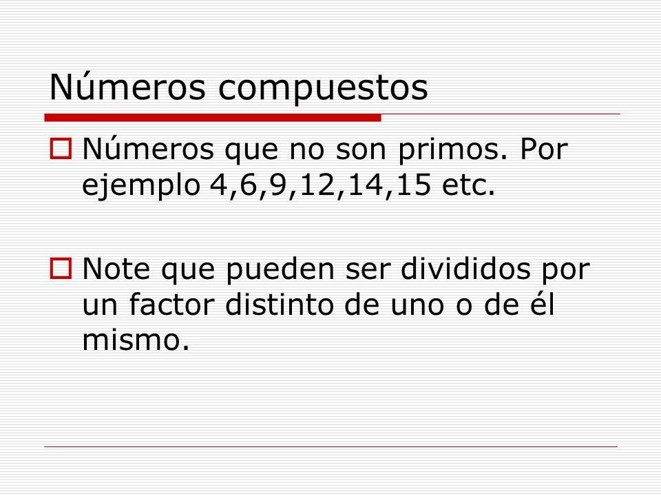 Números compuestosNúmeros que no son primos. Por ejemplo 4,6,9,12,14,15 etc.
