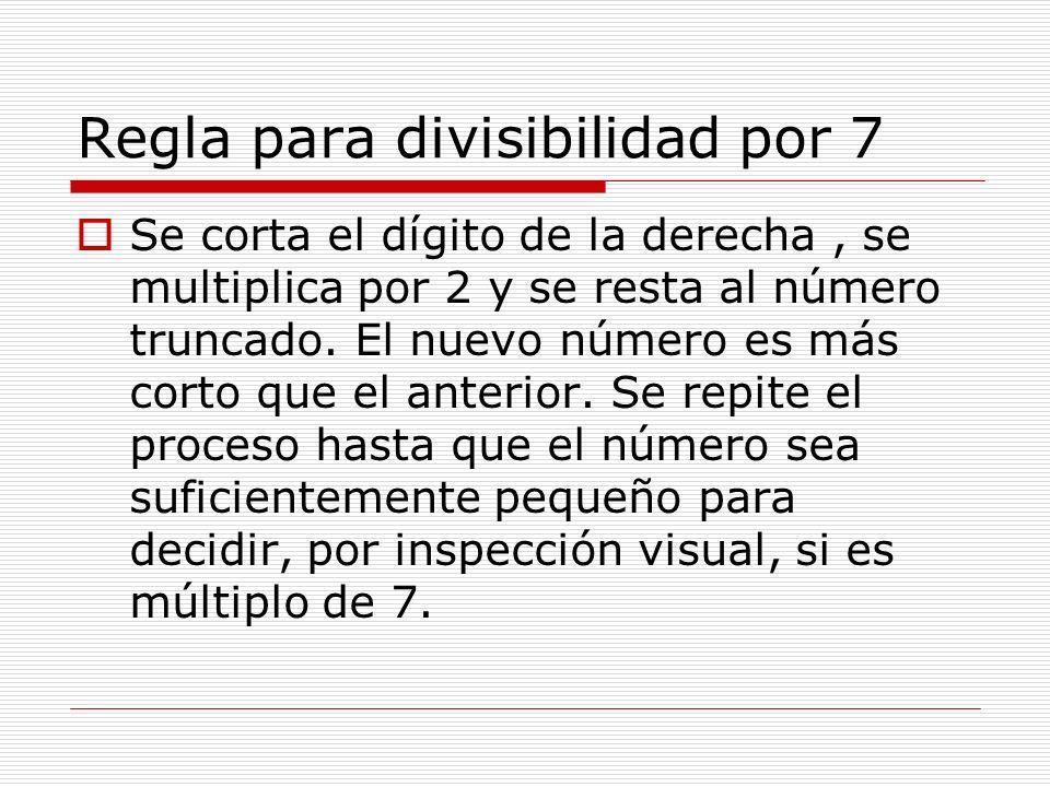 Regla para divisibilidad por 7