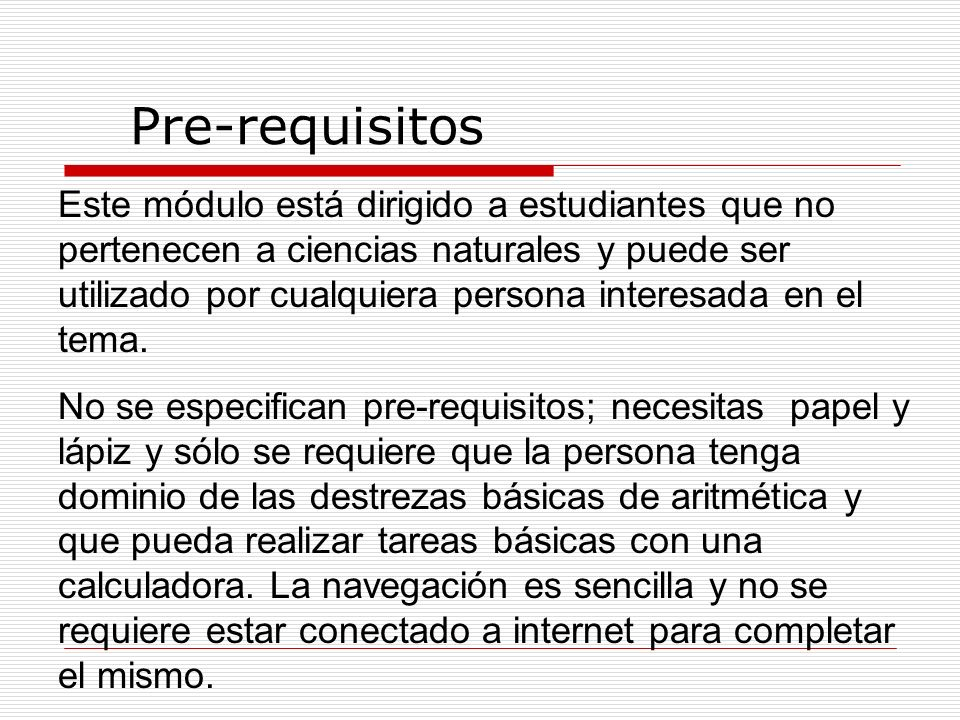 Pre-requisitos