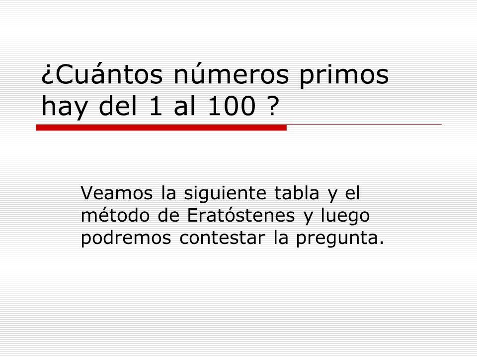 ¿Cuántos números primos hay del 1 al 100