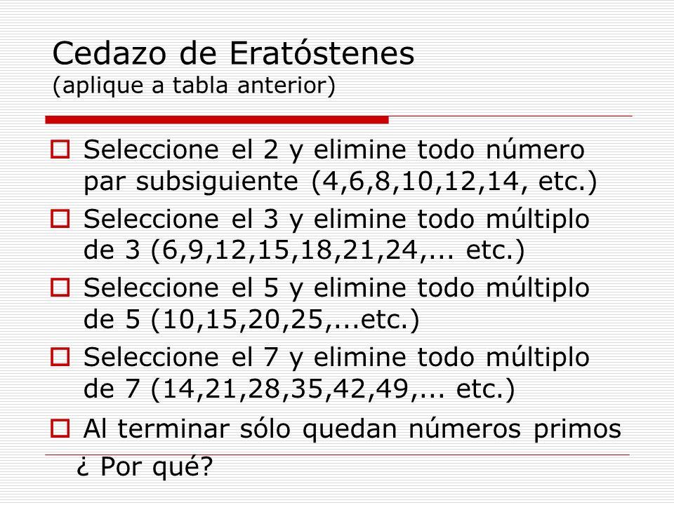Cedazo de Eratóstenes (aplique a tabla anterior)