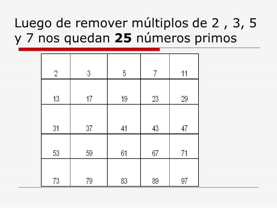 Luego de remover múltiplos de 2 , 3, 5 y 7 nos quedan 25 números primos