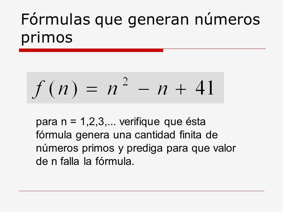 Fórmulas que generan números primos