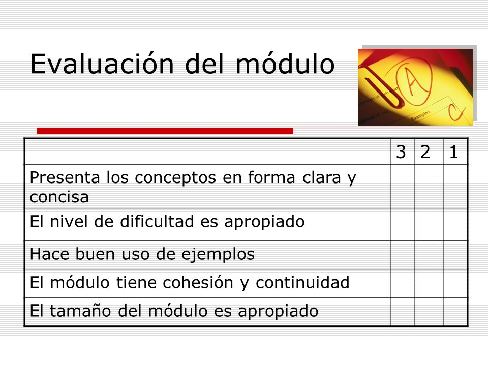 Evaluación del módulo3. 2. 1. Presenta los conceptos en forma clara y concisa. El nivel de dificultad es apropiado.