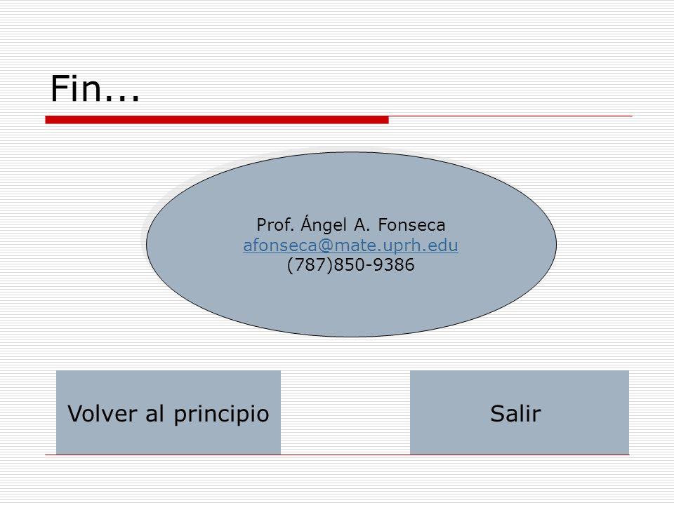 Fin... Volver al principio Salir Prof. Ángel A. Fonseca