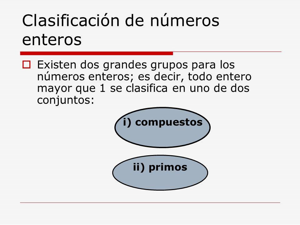 Clasificación de números enteros