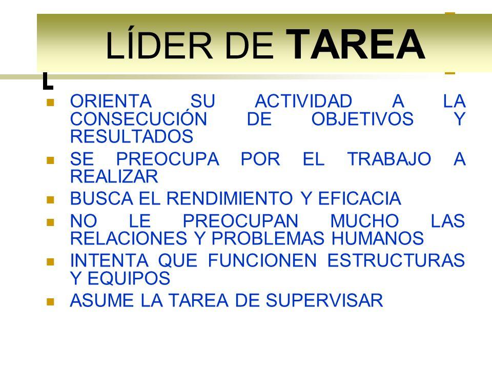 LÍDER DE TAREA ORIENTA SU ACTIVIDAD A LA CONSECUCIÓN DE OBJETIVOS Y RESULTADOS. SE PREOCUPA POR EL TRABAJO A REALIZAR.