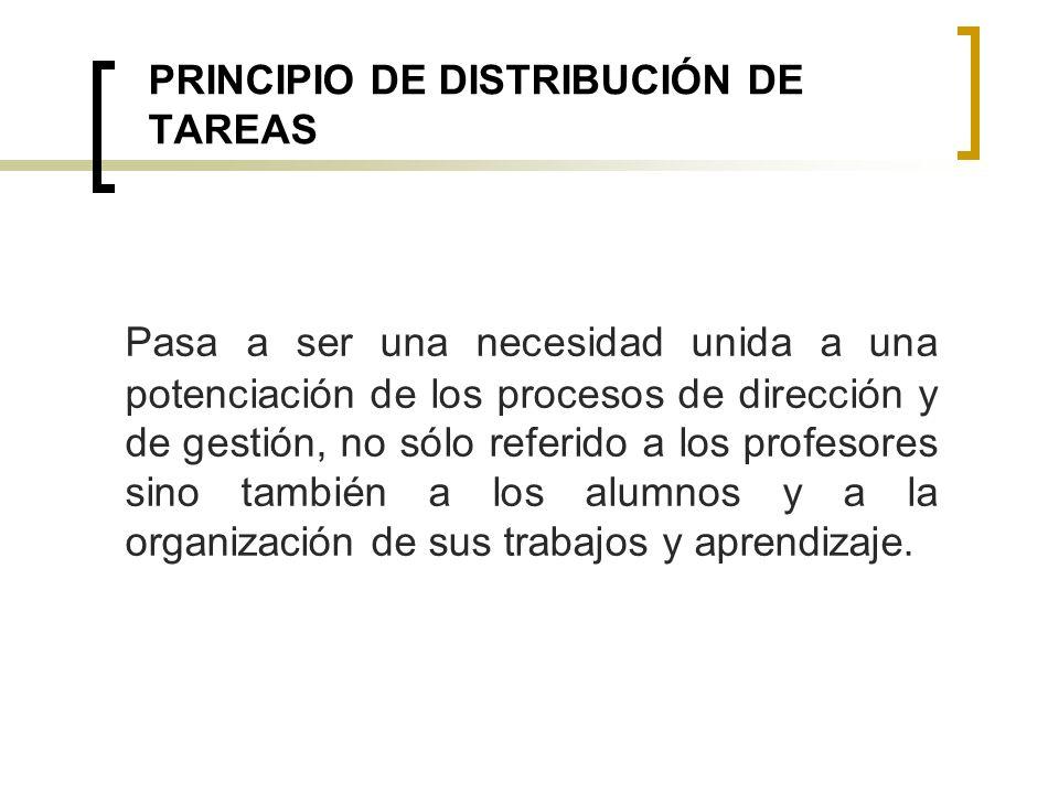 PRINCIPIO DE DISTRIBUCIÓN DE TAREAS