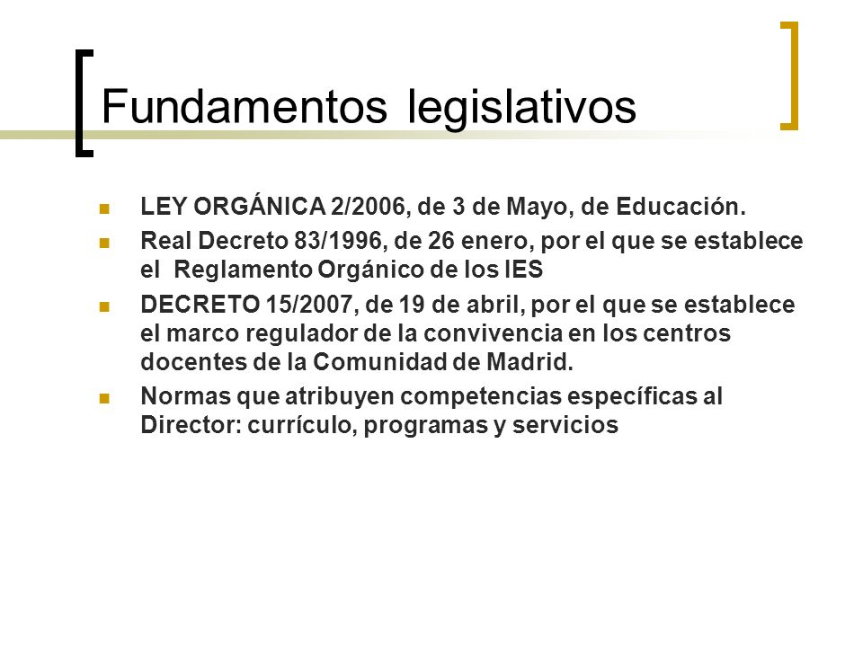 Fundamentos legislativos