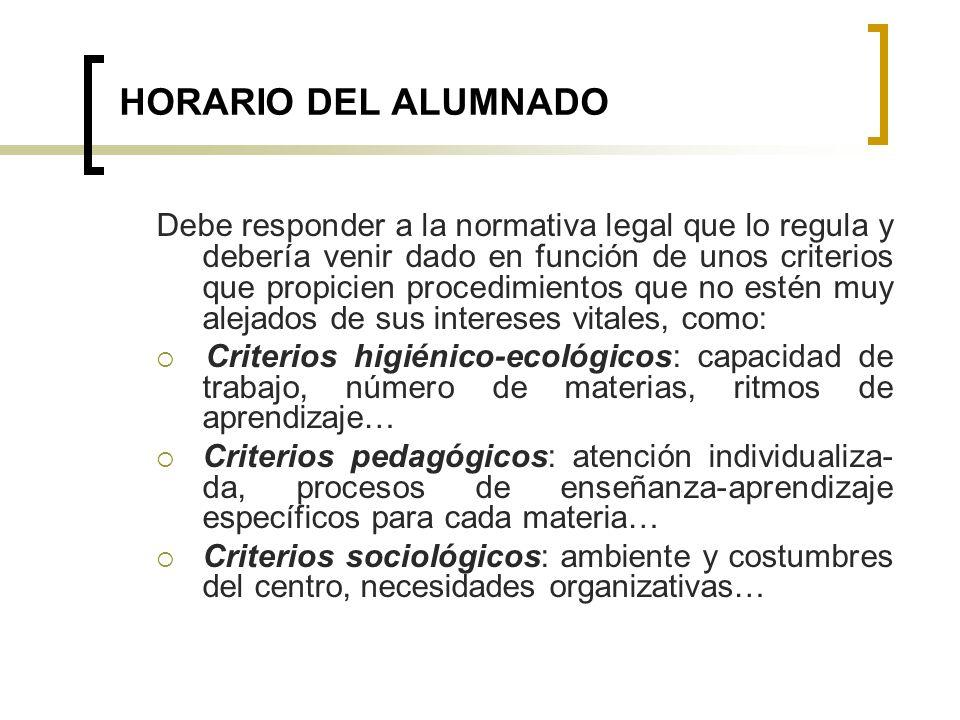 HORARIO DEL ALUMNADO