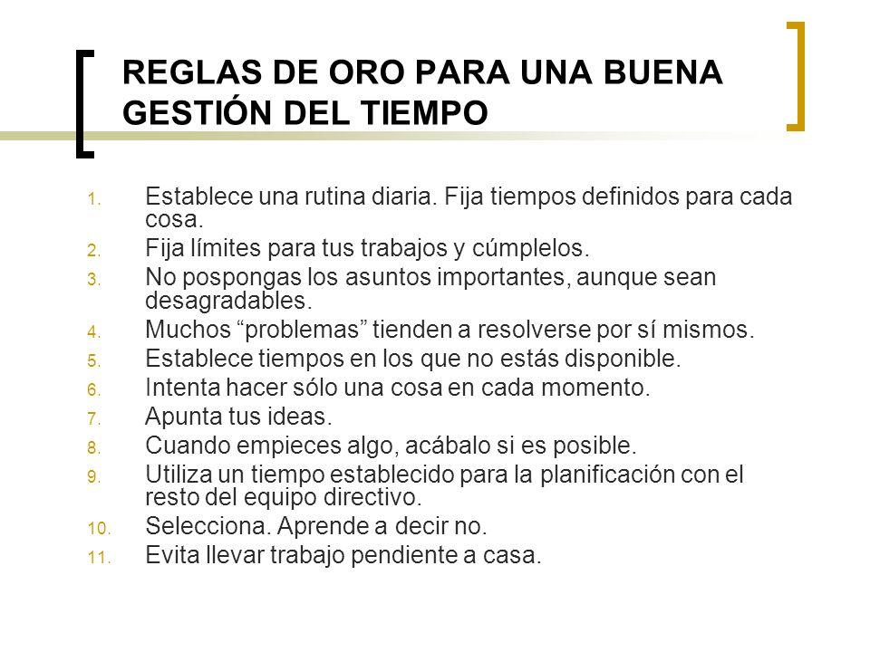 REGLAS DE ORO PARA UNA BUENA GESTIÓN DEL TIEMPO