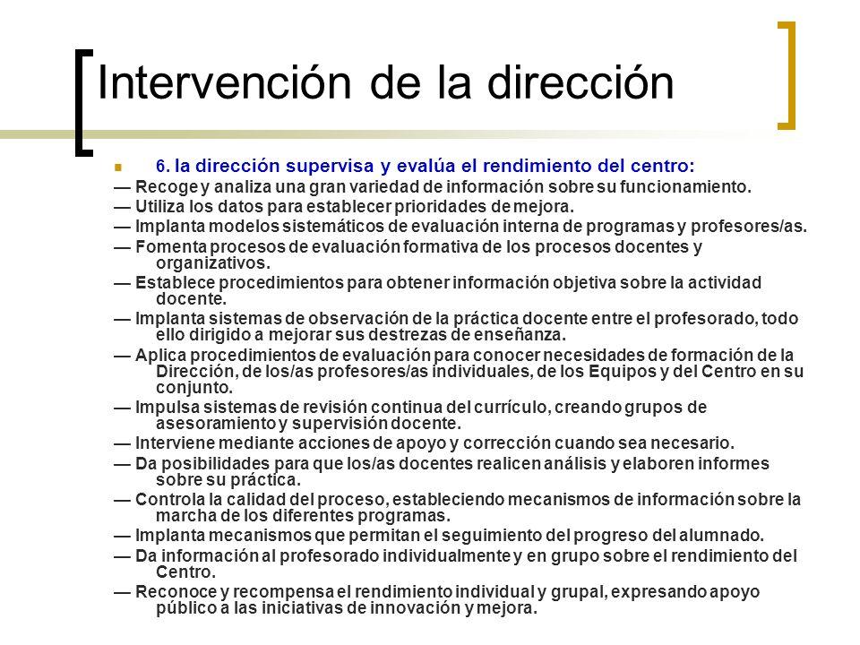 Intervención de la dirección