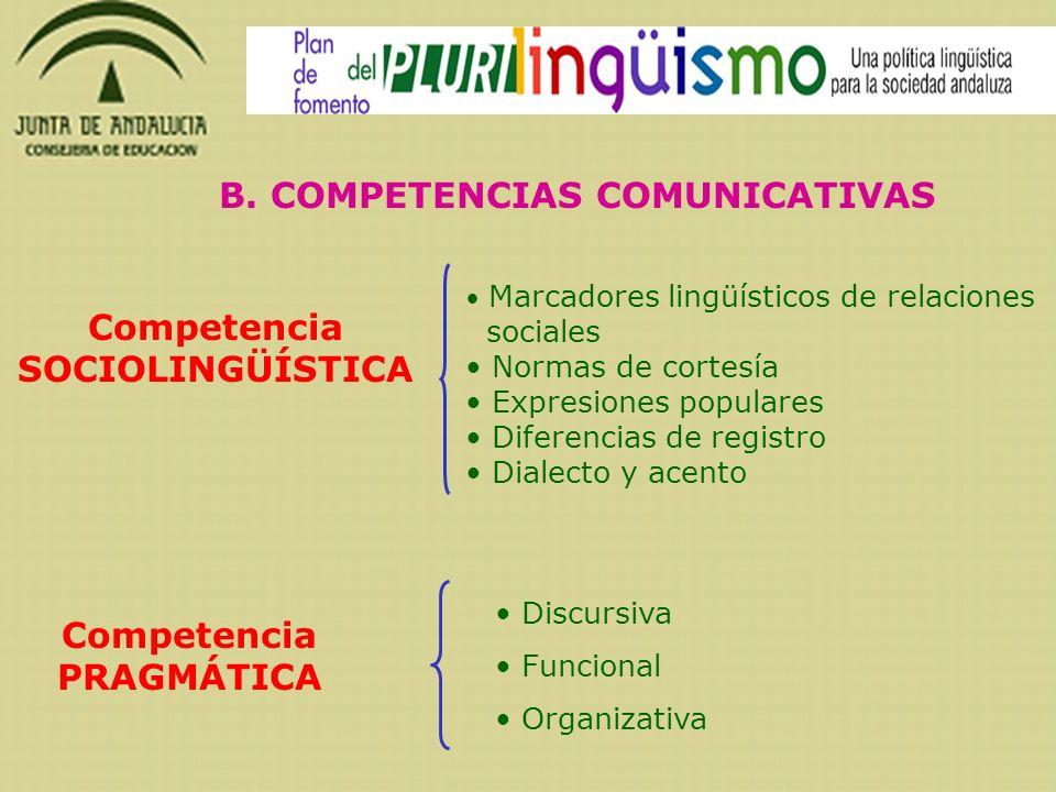 B. COMPETENCIAS COMUNICATIVAS