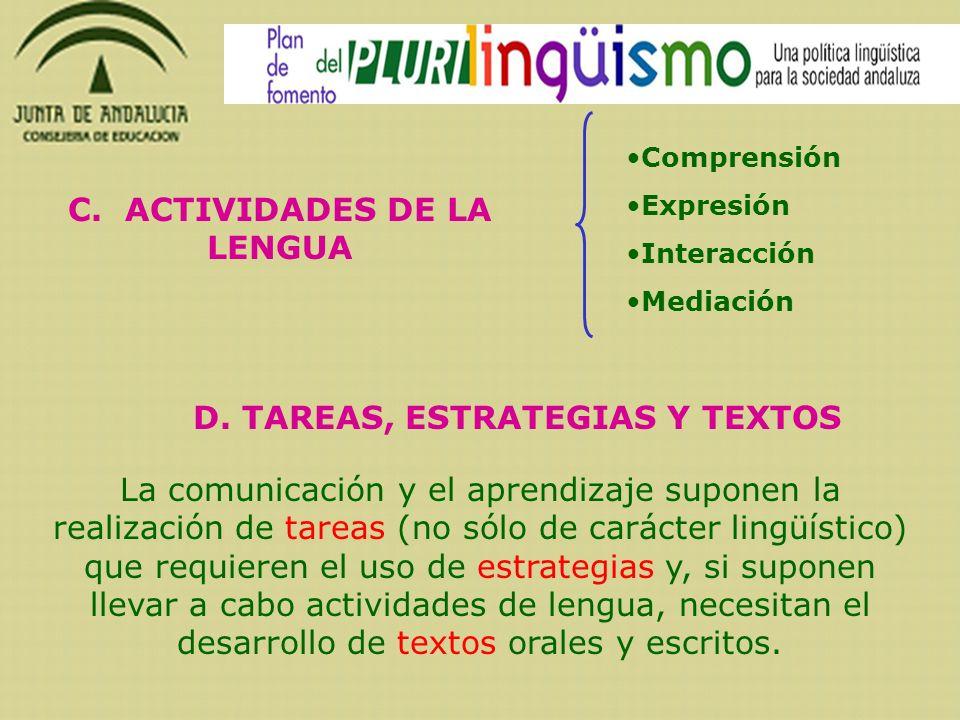 C. ACTIVIDADES DE LA LENGUA D. TAREAS, ESTRATEGIAS Y TEXTOS