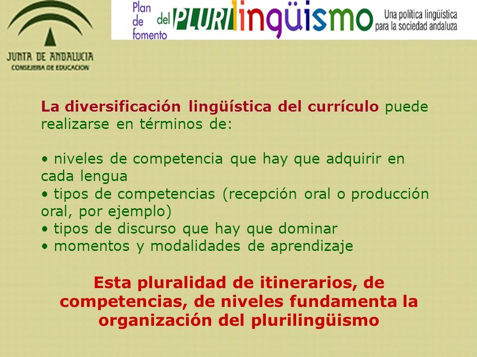 La diversificación lingüística del currículo puede realizarse en términos de: niveles de competencia que hay que adquirir en cada lengua.