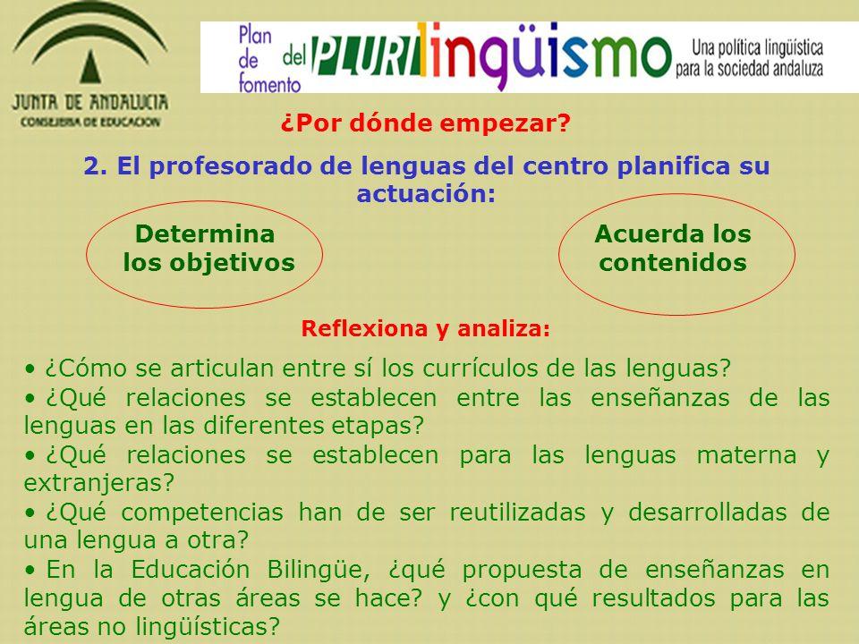 2. El profesorado de lenguas del centro planifica su actuación: