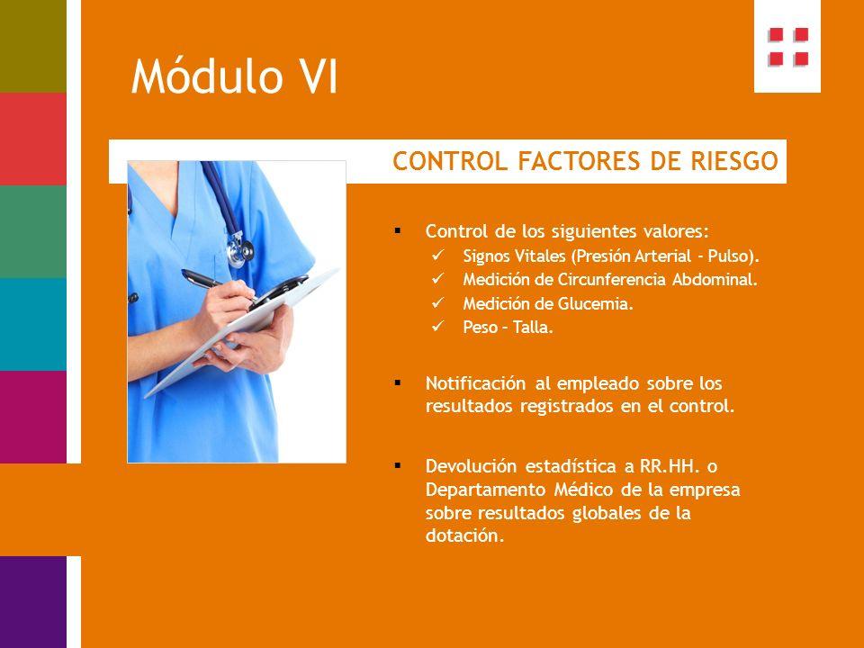 Módulo VI CONTROL FACTORES DE RIESGO