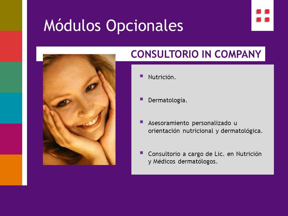 Módulos Opcionales CONSULTORIO IN COMPANY Nutrición. Dermatología.