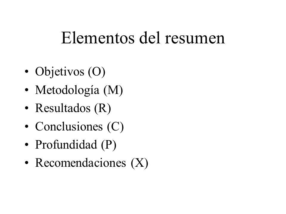 Elementos del resumen Objetivos (O) Metodología (M) Resultados (R)