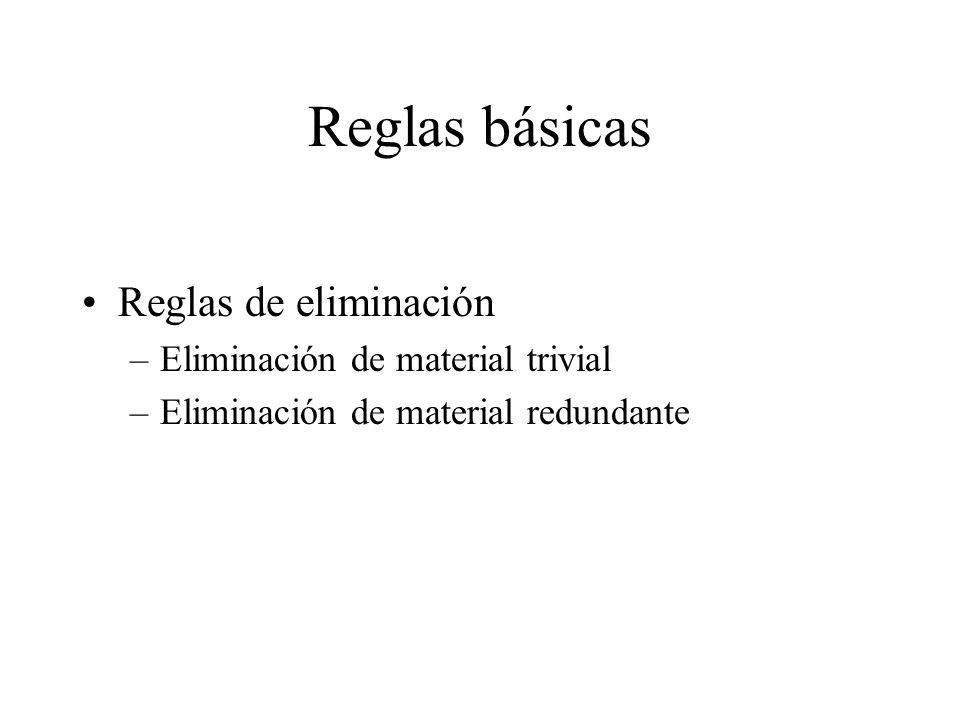 Reglas básicas Reglas de eliminación Eliminación de material trivial