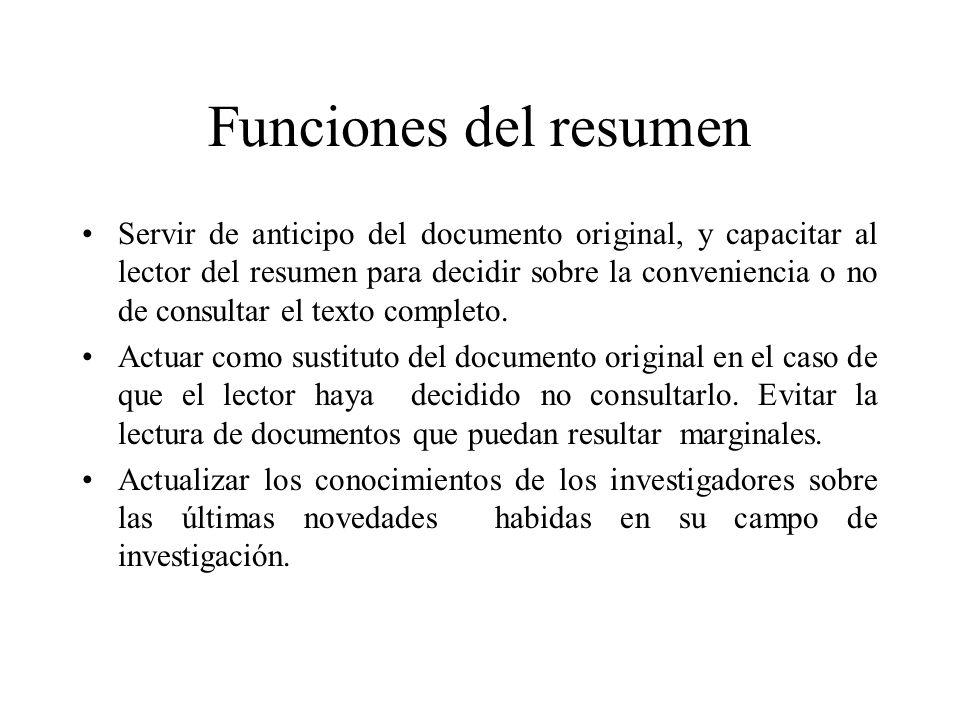 Funciones del resumen