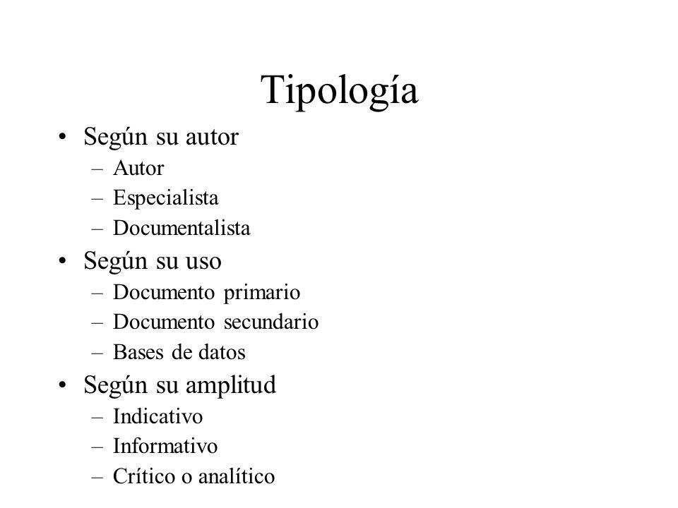 Tipología Según su autor Según su uso Según su amplitud Autor