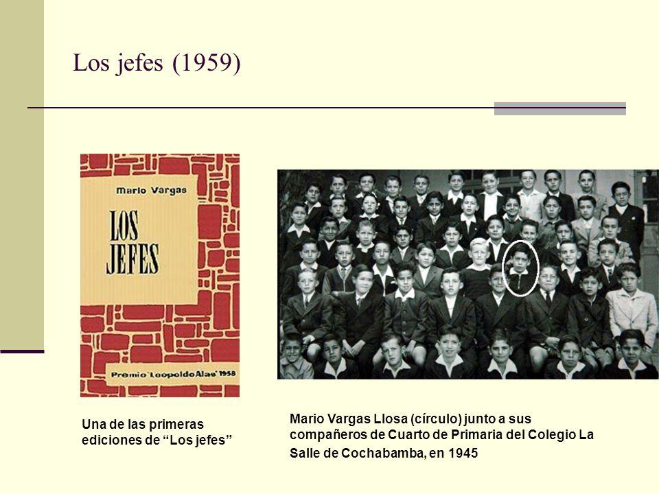 Los jefes (1959) Mario Vargas Llosa (círculo) junto a sus compañeros de Cuarto de Primaria del Colegio La Salle de Cochabamba, en 1945.