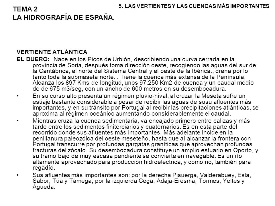 TEMA 2 LA HIDROGRAFÍA DE ESPAÑA.