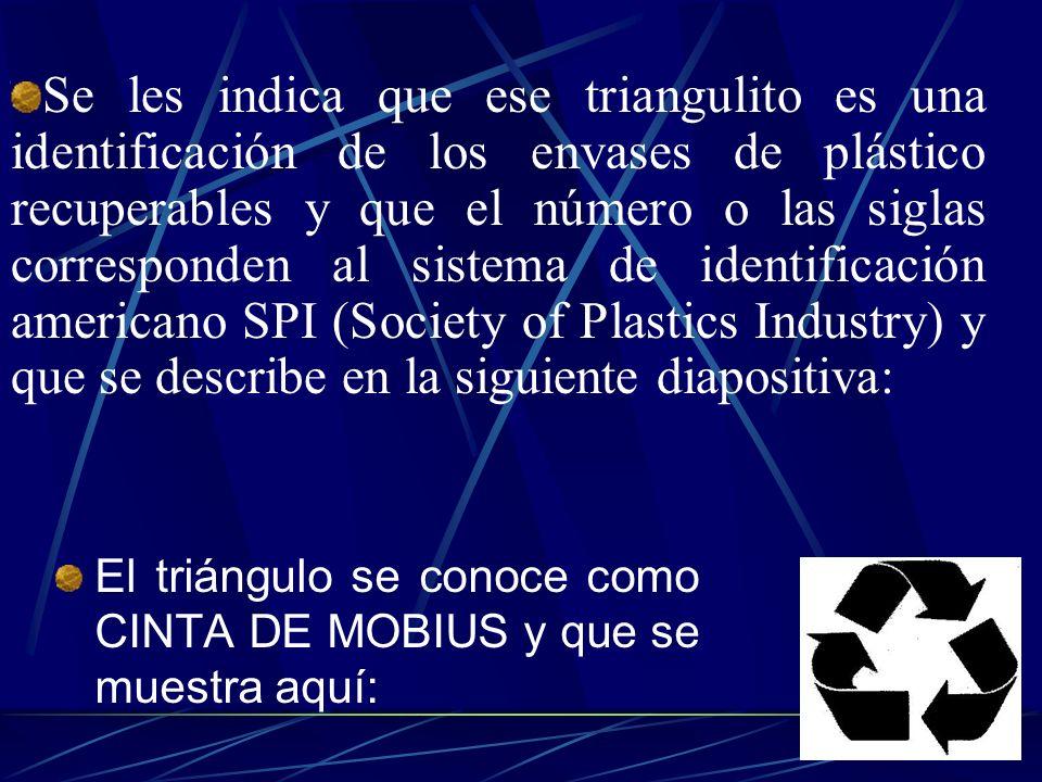 Se les indica que ese triangulito es una identificación de los envases de plástico recuperables y que el número o las siglas corresponden al sistema de identificación americano SPI (Society of Plastics Industry) y que se describe en la siguiente diapositiva: