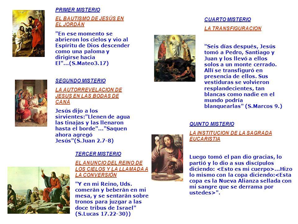 PRIMER MISTERIO EL BAUTISMO DE JESÚS EN EL JORDÁN.
