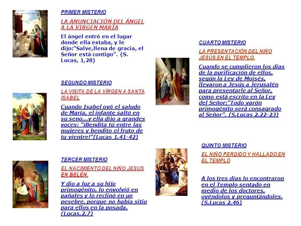 PRIMER MISTERIO LA ANUNCIACIÓN DEL ÁNGEL A LA VIRGEN MARÍA